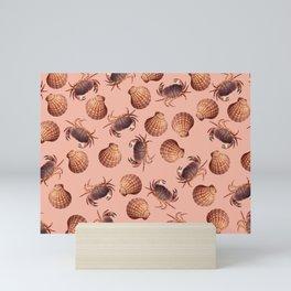scallop Crab pattern design coral Mini Art Print