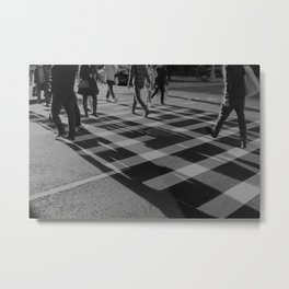 Crosswalk Shadows - Solarized Metal Print