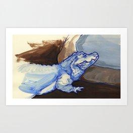 Pygmy Crocodile, Blue Art Print