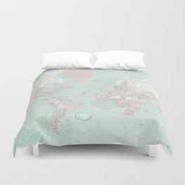 """Detailed world map with coral, seaweed and marine creatures, """"Lenore"""" Duvet Cover"""