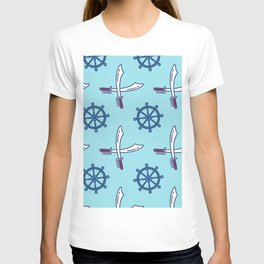 Pirates Elements Pattern  T-shirt