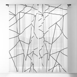 Simple Modern Black and White Geometric Pattern Sheer Curtain