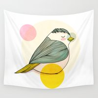 nan lawson Wall Tapestries featuring Little Bird by Nan Lawson