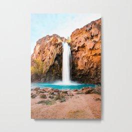 Desert Oasis Waterfall, Havasu Falls Havasupai Indian Reservation, Aqua Water Metal Print
