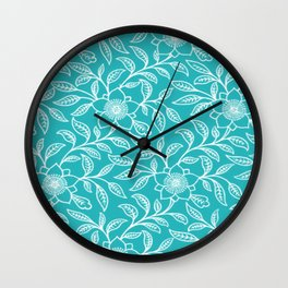 Aquamarine Lace Floral Wall Clock