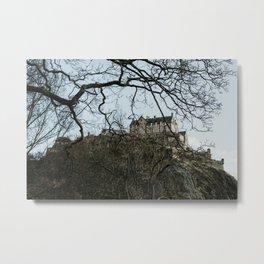 Edinburgh Castle through the winter trees | Colourful travel photography | Edinburgh, Scotland Metal Print