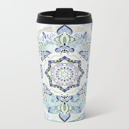 BLUE YERA MANDALA Metal Travel Mug