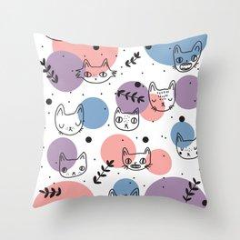 Kitty Faces Throw Pillow