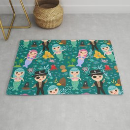 Mermaid with pirate, dark blue sea background Rug