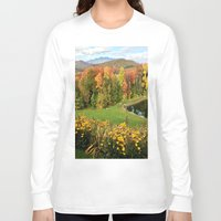 vermont Long Sleeve T-shirts featuring Vermont Foliage Watercolor by Vermont Greetings