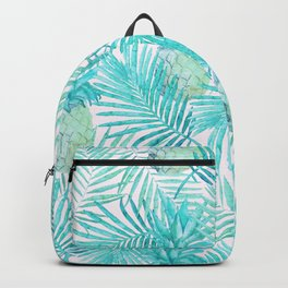 Turquoise Palm Leaves and Pineapples on Pink Backpack