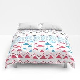 Watercolor hand painted pink blue black tribal geometrical Comforters