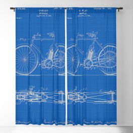 1901 G M Holley Motorcycle Patent Blueprint Blackout Curtain