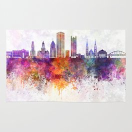 Pittsburgh V2 skyline in watercolor background Rug