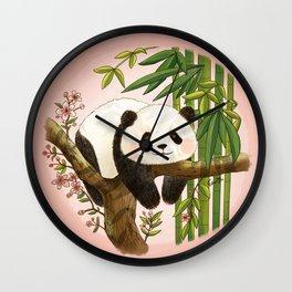 Panda under sunlight - Pink Wall Clock