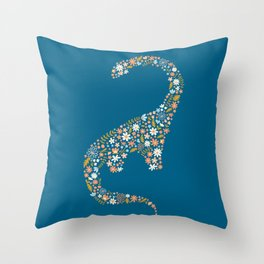 Foral Brontosaurus in Coral + Blue Throw Pillow