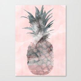 Pink Tropical Beachy Pineapple Canvas Print