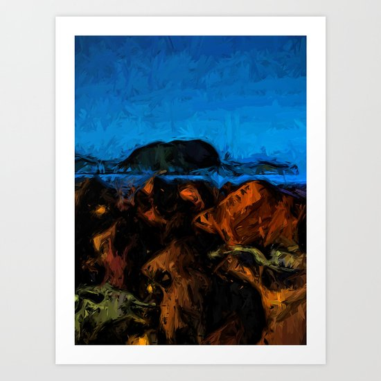 Island and Wild Blue Waves on the Rocks Art Print