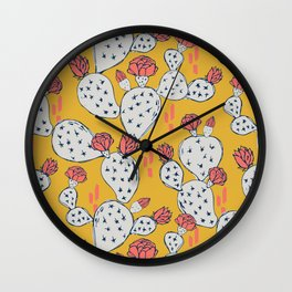 Coral Flowering Cactus on Mustard Yellow Wall Clock