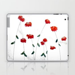 Red flowers in the snow Laptop & iPad Skin