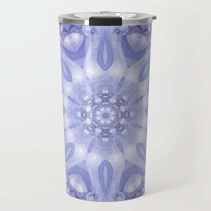 Light Blue, Lavender & White Floral Mandala Travel Mug