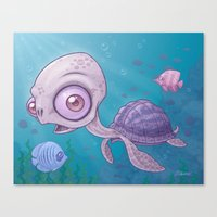 sea turtle Canvas Prints featuring Sea Turtle by John Schwegel