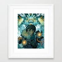 gundam Framed Art Prints featuring Aztec Gundam by CKellyIllustration