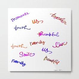 Faith, Us, Thankful, Love, Smile, Words Of Hope, Watercolor Metal Print