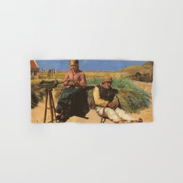 Michael Peter Ancher - Figures in a landscape Blind Kristian and Tine among the dunes Hand & Bath Towel