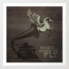 Music makes me fly Art Print