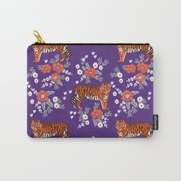 Tiger Clemson purple and orange florals university fan variety college football Carry-All Pouch