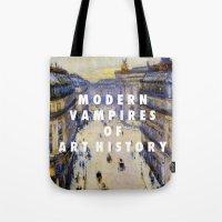 modern vampires of art history Tote Bags featuring Modern Vampires by Modern Vampires of Art History