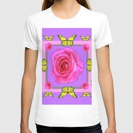 Lilac Art yellow Butterflies Rose Design T-shirt