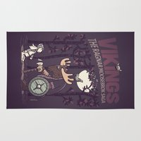 vikings Area & Throw Rugs featuring Vikings by Hugo Santos