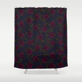 Anemone Field Pink & Dark Blue Shower Curtain