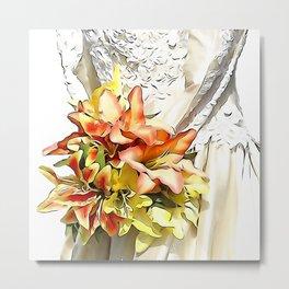 The bride had a orange lily bouquet Metal Print