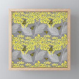 Mimosa Mimoza spring yellow flowers and Monarch butterflies, yellow and gray floral botanical Framed Mini Art Print
