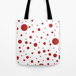 Mixed Polka Dots - Firebrick Red on White Tote Bag