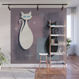 Jazzy Midcentury Modern Black And White Abstract Cats Wall Mural