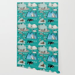 Arctic animals teal Wallpaper
