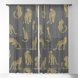 Big Cat Pattern Sheer Curtain