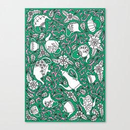 Tea Time Green Canvas Print