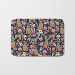 Brussels Griffon florals pattern for dog lovers custom pet friendly gifts for all dog breeds Bath Mat