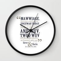 bedding Wall Clocks featuring steve and karla bedding by studiomarshallarts