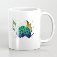 brain Mugs featuring brain by Stefano Cardoselli