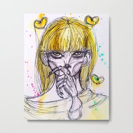 Thinking about your flaws. Metal Print