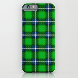 Scottish Tartan Blue and Green iPhone Case