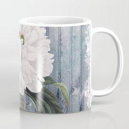 White Peony On Winter Grey Fence Coffee Mug