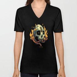 Skull Fire Unisex V-Neck