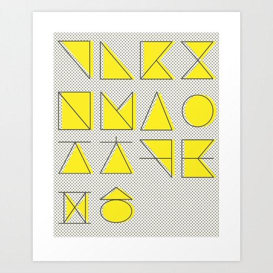 'ㄱ,ㄴ,ㄷ,ㄹ' (Korean Alphabet-Yellow) Art Print